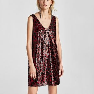 Sequin Zara Party Dress Red and Black Size Small
